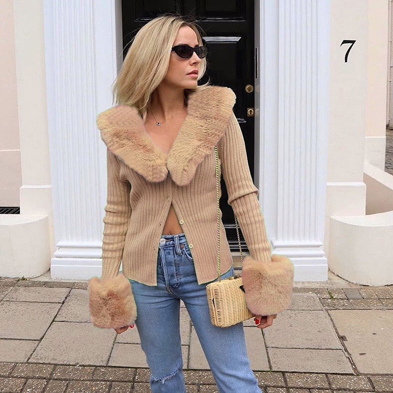 Fluffy Faux Fur Knitted Top