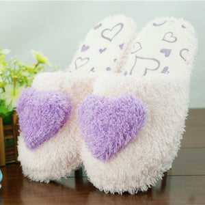 Non-slip heart slippers