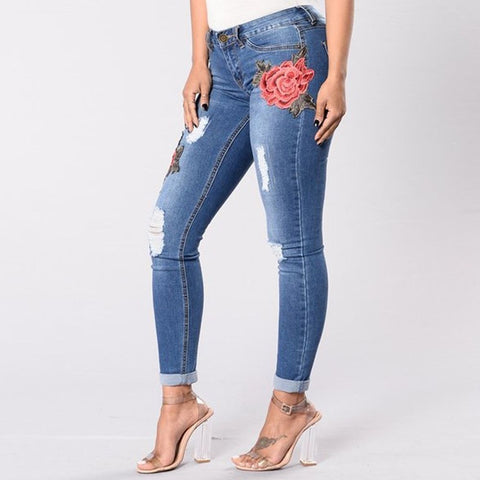 High waist Ripped Floral Hole Jeans