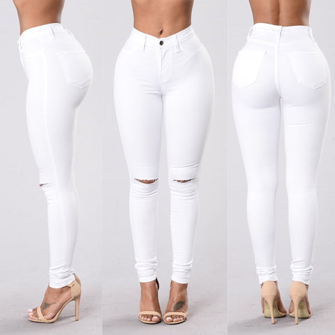 High Waist Skinny Hole Jeans