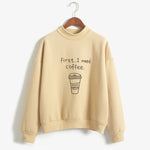 I Need Coffee Print Sweatshirt