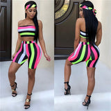 Striped 2 Piece Set Top and Shorts (including Headscarf )