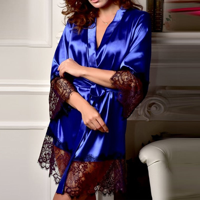 Silk Robe with Lace