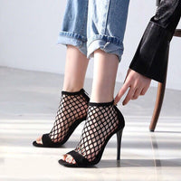 Mesh Fishnet High Heels