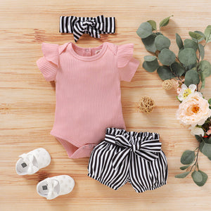 Stripe  2 Piece Set with Bow Knot