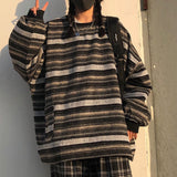 Oversize Striped Knit Sweatshirt