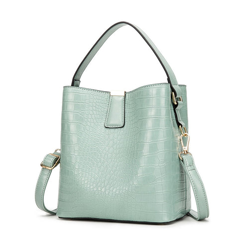 Crocodile Pattern Bucket Bag