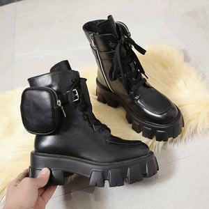 Black Military Boots with Pouch