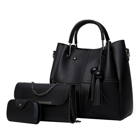 3Pcs Tassel Shoulder Hand Bag Set