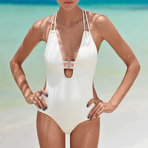 Floral Plunging Halter Neck Swimsuit