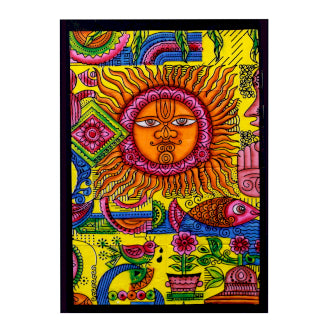 Hand brushed Cotton Wall Art - Sun