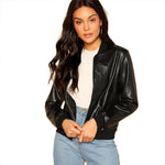 Black Zip Up Leather Bomber Jacket
