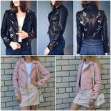 Simplee Floral Embroidery Leather Coat