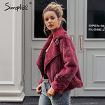 Simplee Suede leather Runway Jacket
