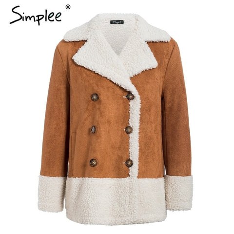 Simplee Vintage Warm Leather Coat