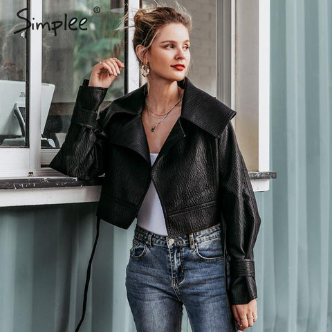 Cropped Bow Tie Leather Jacket