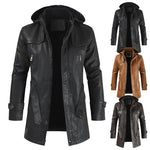 Hooded Trench Style Leather Jacket