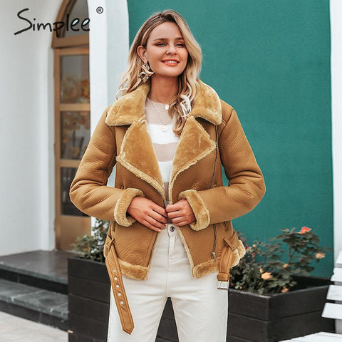 Simplee Modern Style Leather jacket