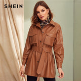 Brown Leather Peacoat