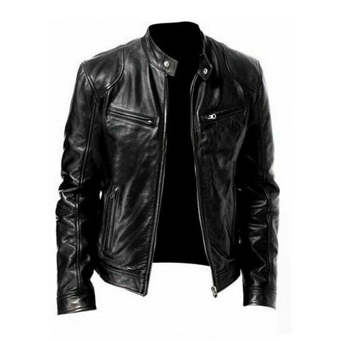 Motorcycle Leather Bomber Jacket