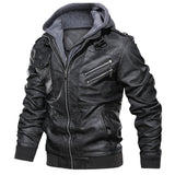 Hooded leather jacket (removable hood)