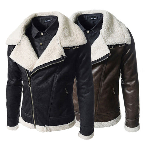 Lamb Collar European Style Leather Jacket