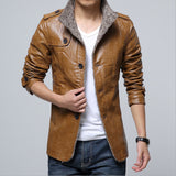Thick Padded Cashmere Leather Jacket
