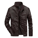 2020 Mandarin Collar Leather Jacket