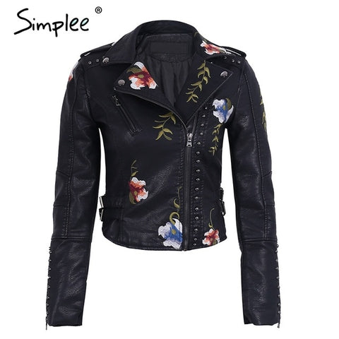 Simplee Floral Embroidery Leather Jacket