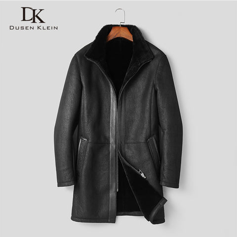 Men's Genuine Sheepskin Leather Coat