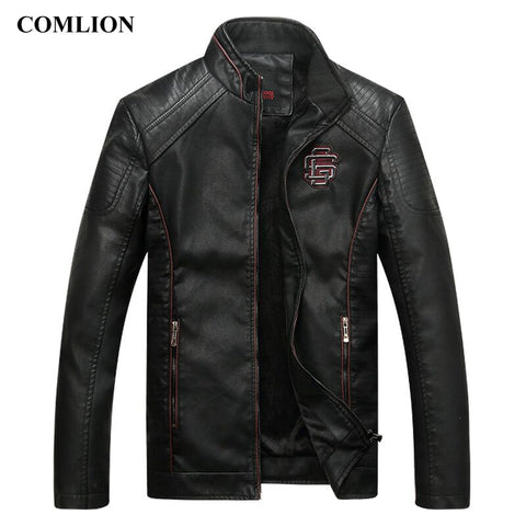 Motorcyle Patched Leather Jacket