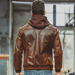 Hooded Leather Aviator Jacket