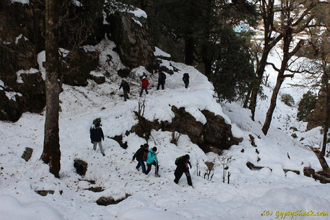 Negotiating snow laden trails: Chopta-Chandrashila Trek