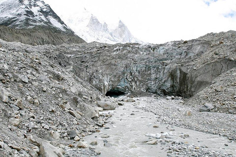 The snout of the Gangotri Glacier