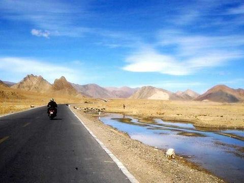 Biking through the spectacular landscape to Leh