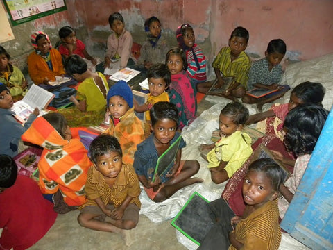 Children being taught at an NGO in Sundarban