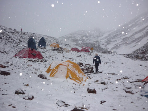 Winter Trek Camping in Snowfall