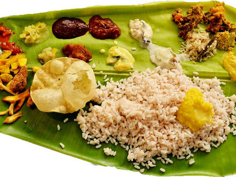 Sadhya meal served on banana leaf
