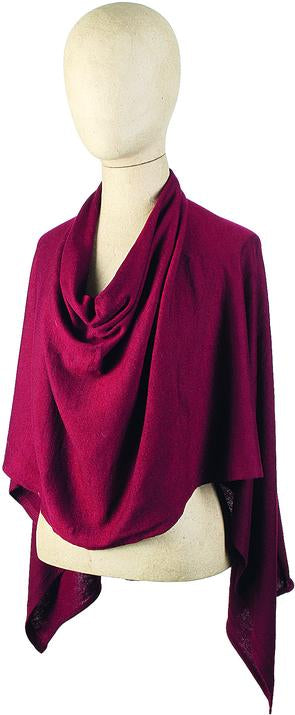 Solid Knit Jersey Poncho, red