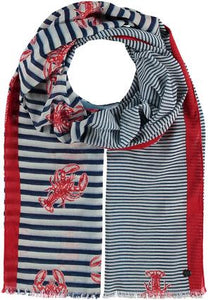 Lobster Stripe Scarf, Navy