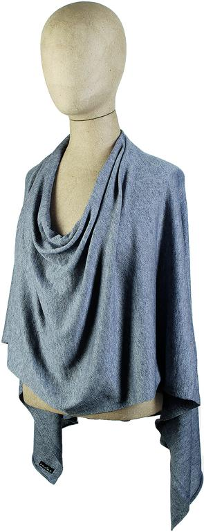 Solid Knit Jersey Poncho, grey