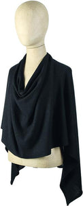 Solid Knit Jersey Poncho, black
