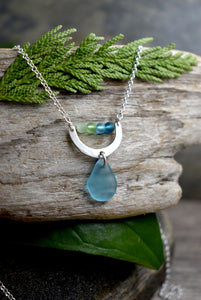 Silver Crescent  Sea Glass Necklace