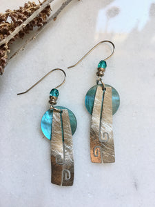 Aqua Silver  Earrings