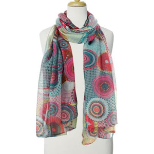 Scarf, circular pattern, 3 colours