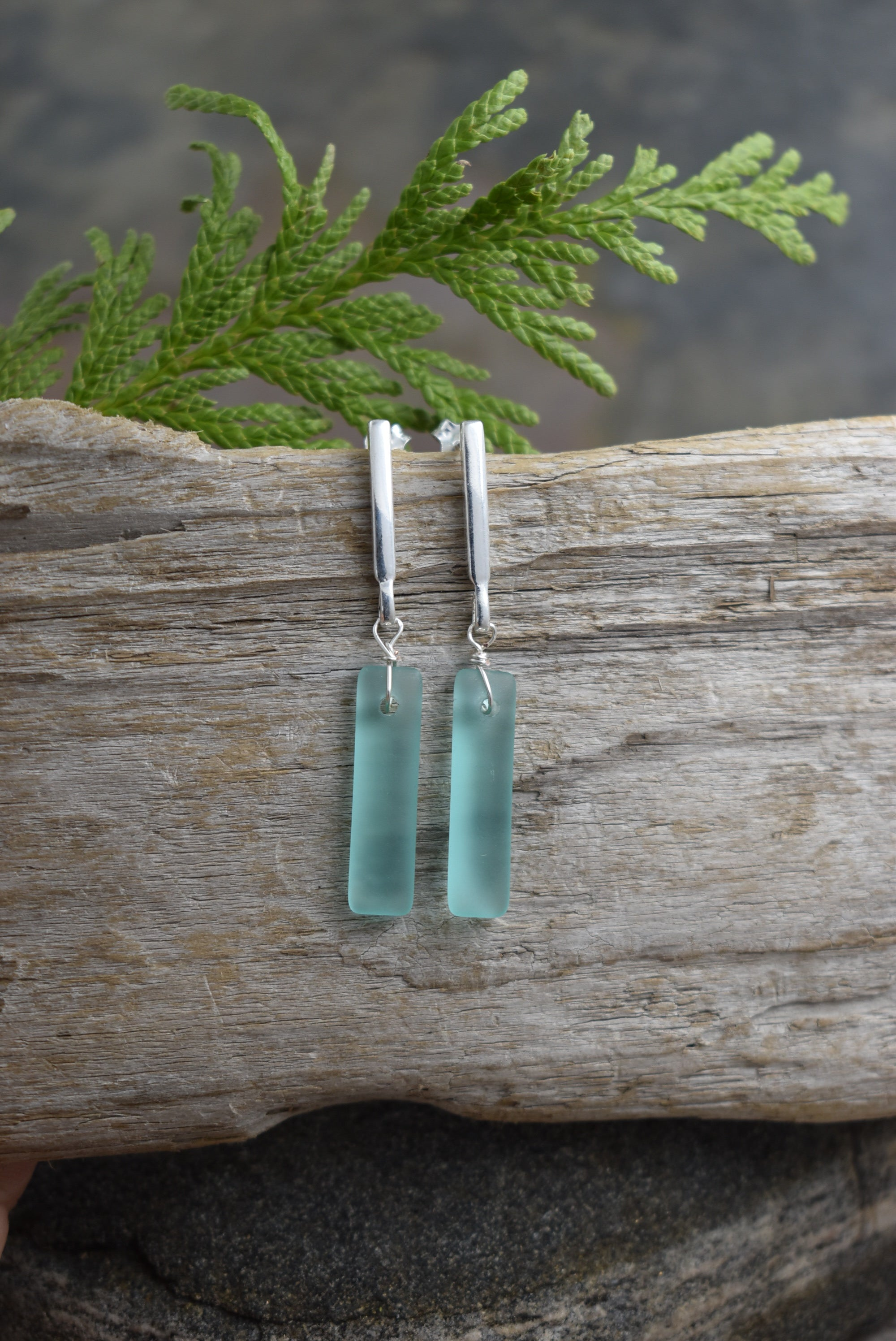 Sea glass Rectangular  Studs