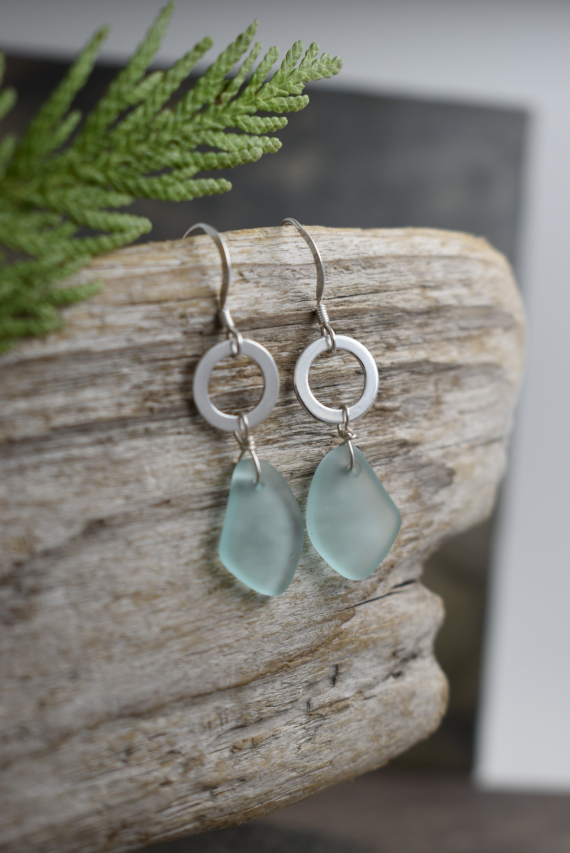 Sea glass and silver Circle Drops
