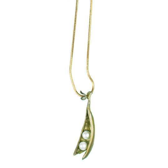 Pea Pod Necklace with 2 pearls