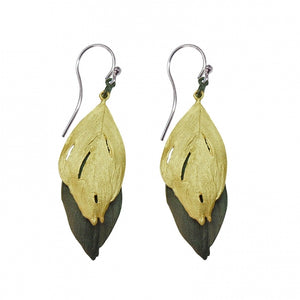 Two tone gold & gunmetal feather earrings