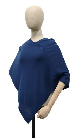 Triangle Knit Jersey Poncho, Navy